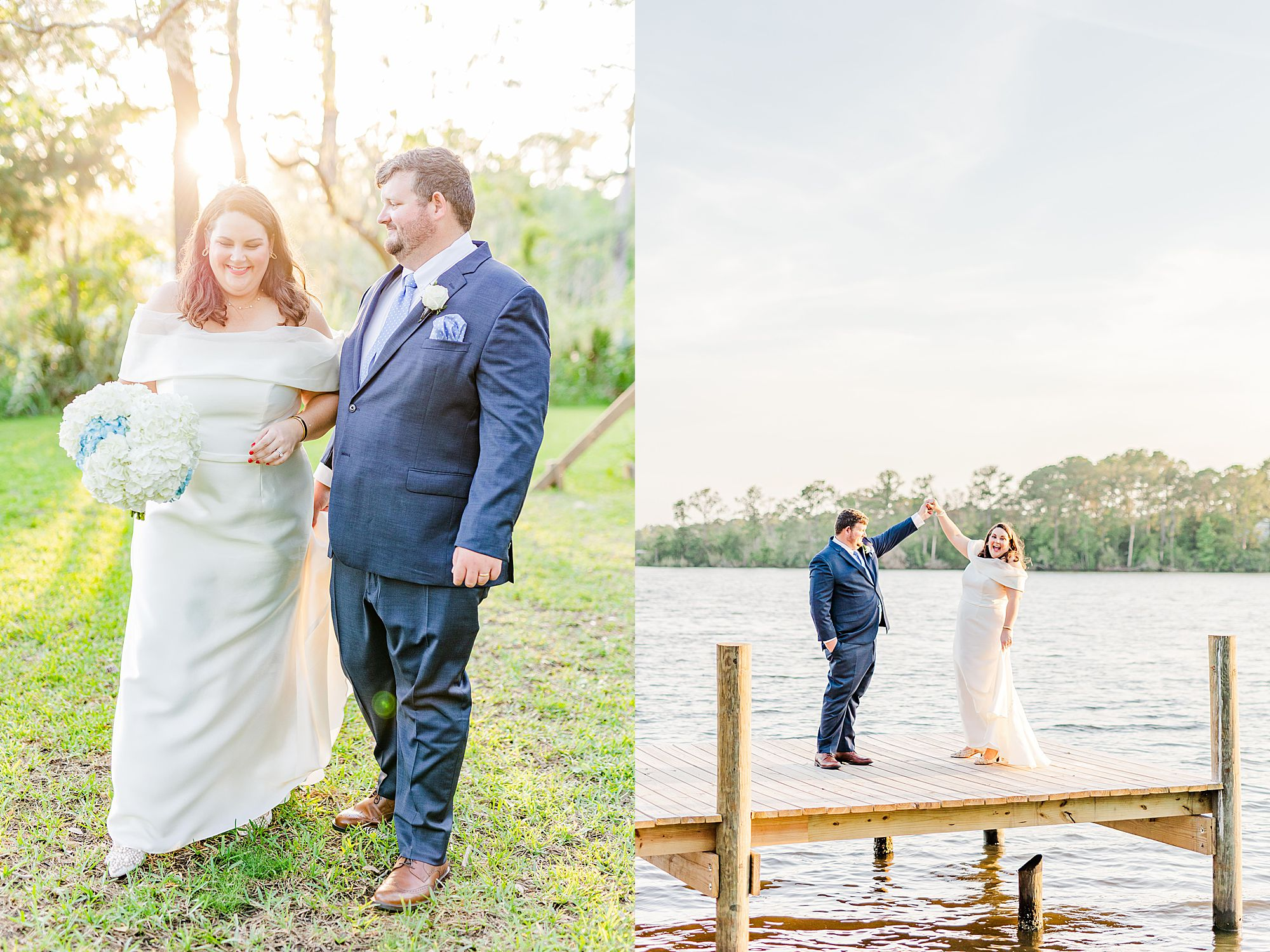 bride and groom photos on pier